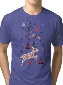 Holiday Folk in Pink Peppermint  Tri-blend T-Shirt