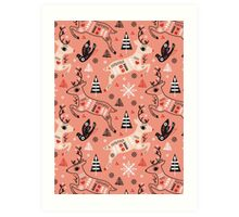 Holiday Folk in Pink Peppermint  Art Print