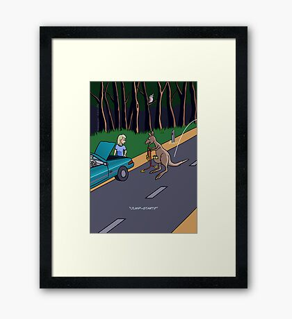Kangaroo Jump-start Framed Print