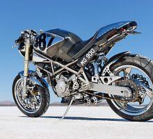 Ducati Monster on the salt 1 by Frank Kletschkus