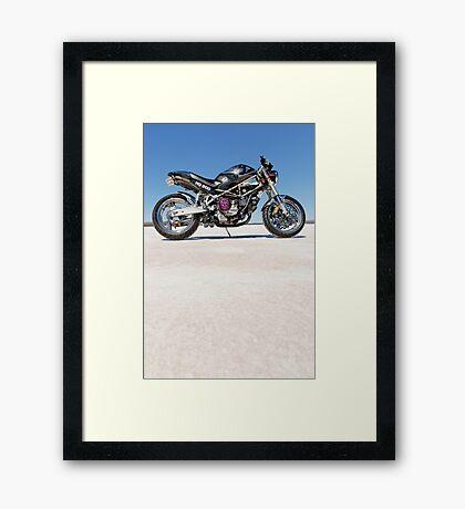 Ducati Monster on the salt 2 Framed Print