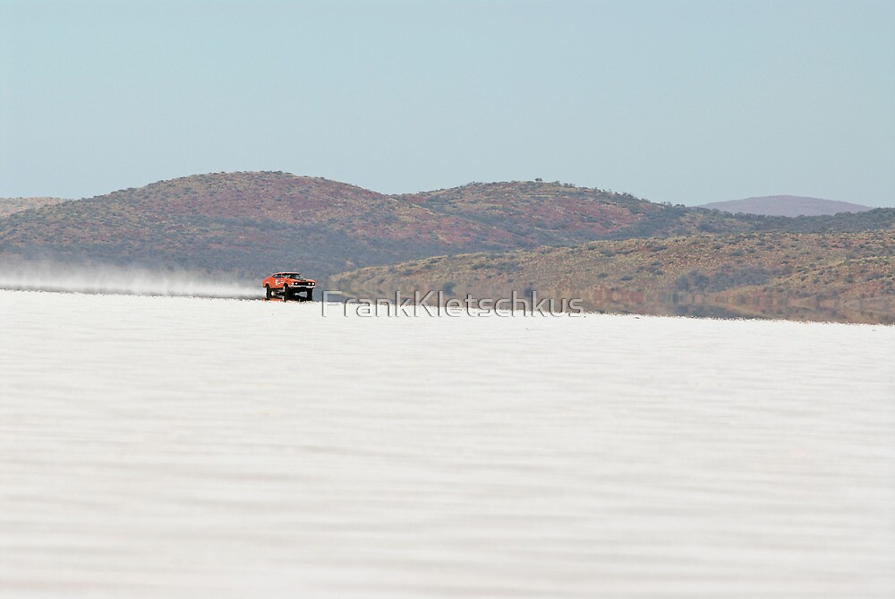XB Ford Falcon Coupe on the salt at full throttle by Frank Kletschkus