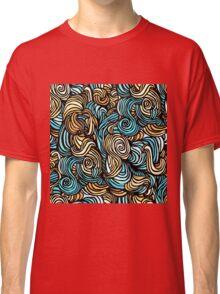 Blue, Yellow and Black Swirls Pattern Classic T-Shirt