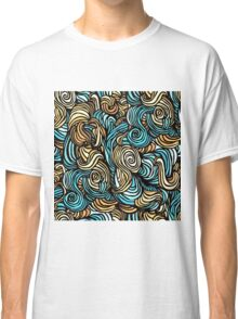 Blue, Yellow and Black Swirls Pattern Classic T-Shirt