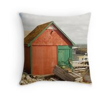 A Colorful Boat House in Nova Scotia Throw Pillow