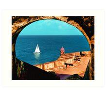Sailboat at Morro Castle Art Print