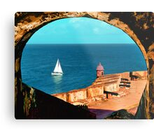 Sailboat at Morro Castle Metal Print