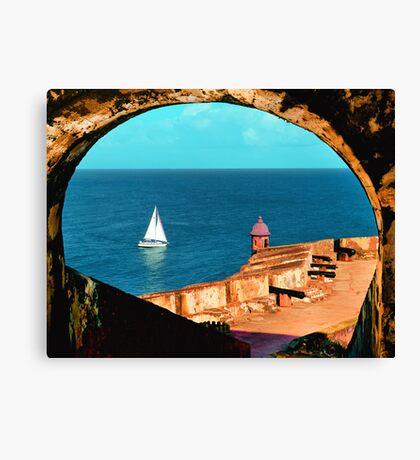 Sailboat at Morro Castle Canvas Print