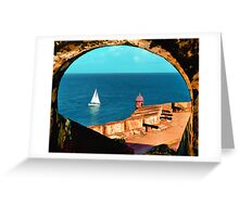 Sailboat at Morro Castle Greeting Card