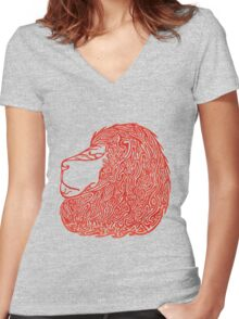 Lion the red!  Women's Fitted V-Neck T-Shirt