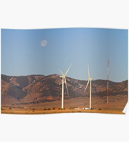 Wind Turbines with a Full Moon and Blue Skies Poster