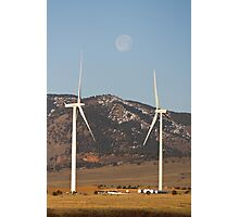 Wind Turbines With A Full Moon Portrait Photographic Print