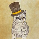 Funny Cute Kitten Cat Sketch Monocle and Top Hat by GirlyTrend