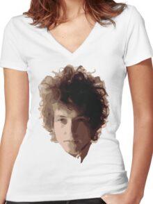 Bob Dylan Big Hair Women's Fitted V-Neck T-Shirt