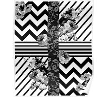 Trendy Black and White Floral Lace Stripes Chevron Poster
