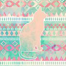 Whimsical Cat, Pink Turquoise Girly Aztec Pattern by GirlyTrend