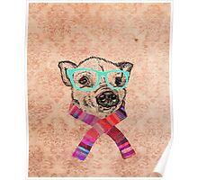 Funny Cute Pig Illustration Teal Hipster Glasses Poster