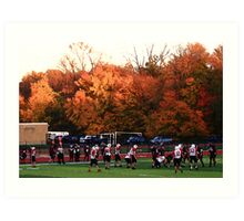 "Autumn Football with ""Dry Brush"" Effect Art Print"