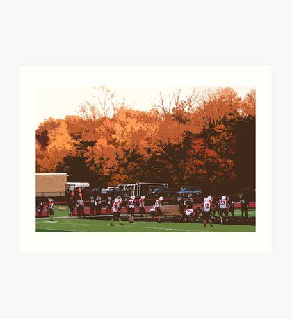 "Autumn Football with ""Cutout"" Effect Art Print"