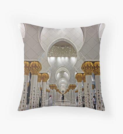 Zayed Grand Mosque Corridor Throw Pillow