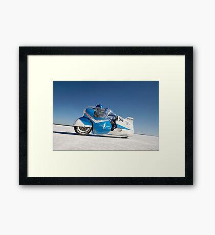 Brett de Stoop on his Suzuki GT 750 at speed Framed Print