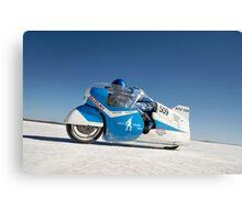 Brett de Stoop on his Suzuki GT 750 at speed Canvas Print