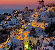 Oia colorfull night Santorini by george papapostolou
