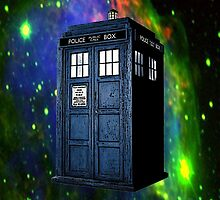 Tardis from Dr Who (Space Background) by Marjuned