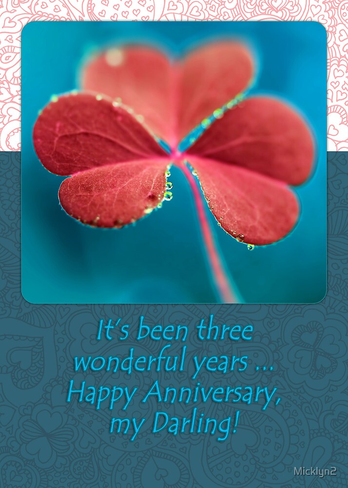 Third Anniversary Pink Clover Card by Micklyn2