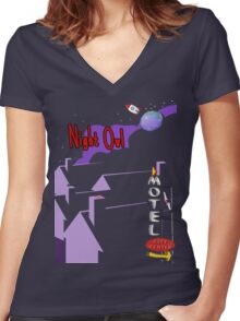 night owl in the city  Women's Fitted V-Neck T-Shirt