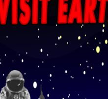 Visit Earth Spaceman Sticker
