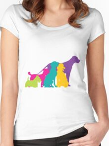 Dog Silhouettes Colour Women's Fitted Scoop T-Shirt