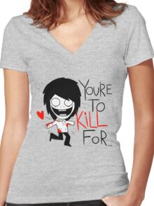 Jeff The Killer Loves You Women's Fitted V-Neck T-Shirt