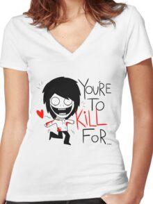 Jeff The Killer Loves You Women's Fitted V-Neck T-Shirt