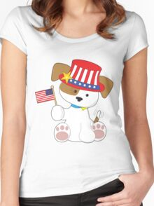Puppy Patriotic Women's Fitted Scoop T-Shirt