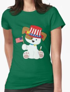 Puppy Patriotic Womens Fitted T-Shirt