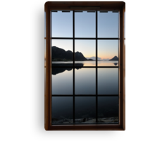 View through the window at the sunrise Canvas Print