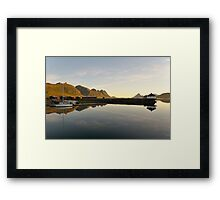 Sunset over the fjord in calm weather Framed Print