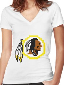 8Bit Redskins Tee - Esquire 3nigma Women's Fitted V-Neck T-Shirt