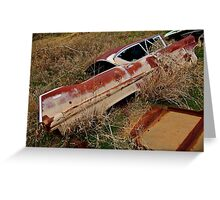 Beaver River riprap near hwy 183 bridge - Cadillac Greeting Card