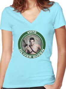 Oliver Queen for Mayor Women's Fitted V-Neck T-Shirt