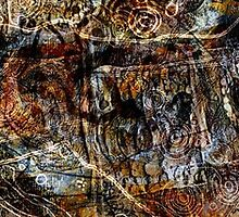 Rock Carvings 2 richly coloured textured drawing on clay by Alchemia
