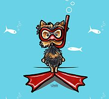 Snorkel Yorkie Funny Any Occasion Card by offleashart