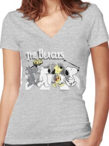 The Beagles 2.0 Women's Fitted V-Neck T-Shirt