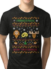 I Married A Moose Christmas Sweater Tri-blend T-Shirt