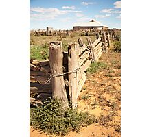 Rough old wooden fence in the outback Photographic Print