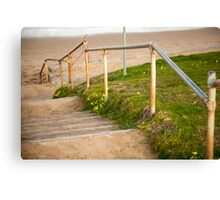Steps down to the beach at sunset Canvas Print