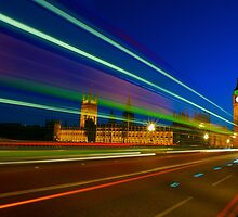 Bus Passing over Waterloo Bridge London by Suzanne Christian