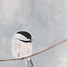 Chickadee Bird Print - Gray and White Neutral Colors - Garden Wildlife Series by cathy savels