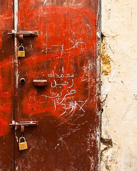 Red Textured Door in Morocco by eyeshoot